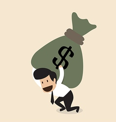 Businessman carry huge money bag vector
