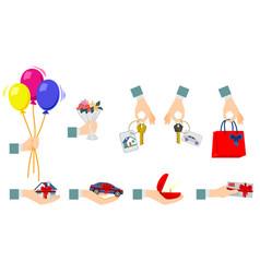250 gift in hand vector image vector image