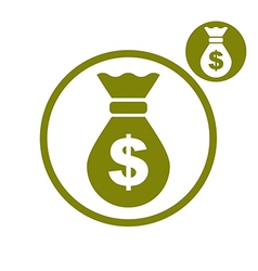 Money bag simple single color icon isolated on vector