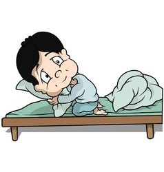 Boy in bed vector