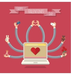 Many-hands laptop valentine card vector