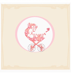 Stroller of flowers - abstract card vector