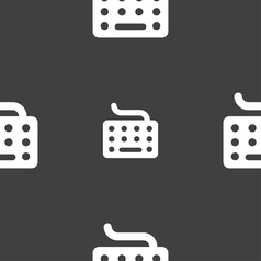 Keyboard icon sign seamless pattern on a gray vector