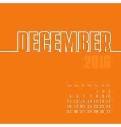 December 2016 year calendar vector
