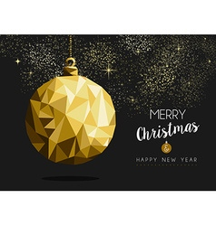 Merry christmas happy new year gold bauble origami vector image