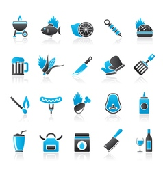 Grill and barbecue icons vector