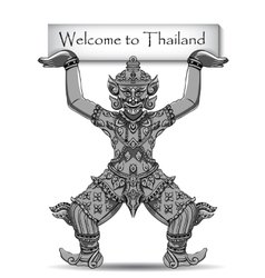 Rakshasa thai statue black outlines isolated on vector