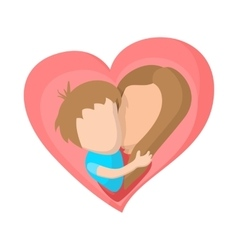 Pink heart with mom and son cartoon icon vector