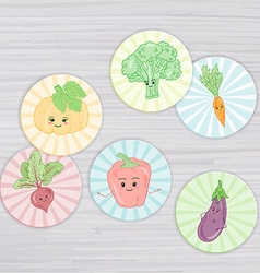Cute vegetables circle for magnets stickers vector