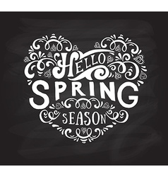 Hello spring lettering typography vector