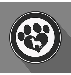 Love paw print icon vector
