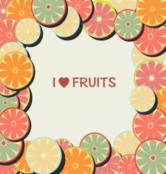 Fruit background in flat frame vector