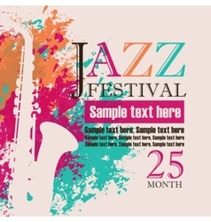 saxophone on grungy color background vector image