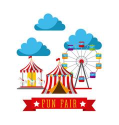 Amusement fun fair theme park poster template vector