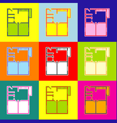 Apartment house floor plans pop-art style vector