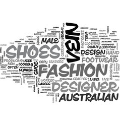 Australian designer shoes text word cloud concept vector