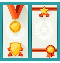 Certificate templates with awards in flat design vector image