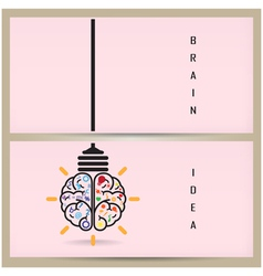 Creative brain idea and light bulb banner concept vector