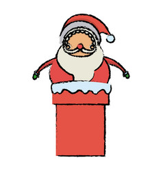 Cute santa claus in chimney christmas character vector