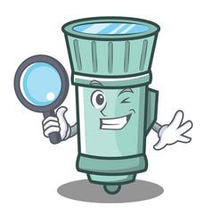 Detective flashlight cartoon character style vector