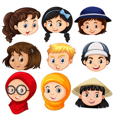 different faces of children vector image