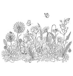 Doodle wildflowers butterflies vector