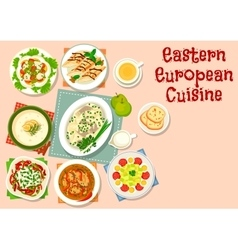 Eastern european cuisine dinner dishes icon vector