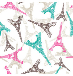 Eiffel tower seamless pattern french vector