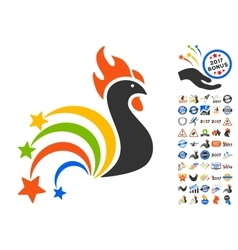 Festival rooster icon with 2017 year bonus symbols vector