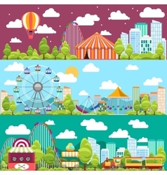 Flat design conceptual city banners with carousels vector