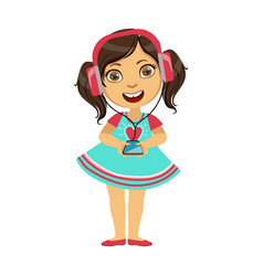 Girl listening to music from smartphone through vector