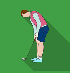 Golfer before kick icon in flat style isolated on vector