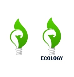 Green energy light bulb with leaf icon vector