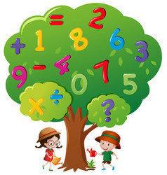 Kids watering the tree with numbers vector