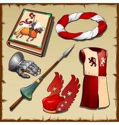Knight different items of the middle ages vector