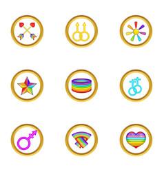 Lgbt festival icons set cartoon style vector