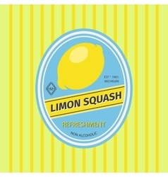 Limon squash retro fruit label vector image