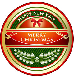 Merry christmas gold label vector