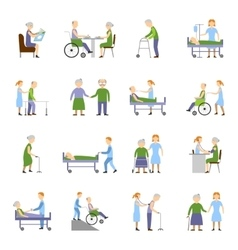 Nursing elderly people icons set vector