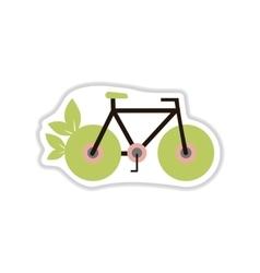 Paper sticker on white background eco bike vector