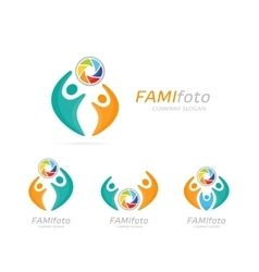 photo camera and people logo combination vector image vector image