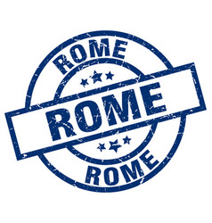 Rome blue round grunge stamp vector