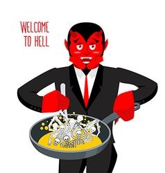 Satan roasts sinners in pan Skeletons in boiling vector image vector image