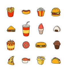 set of cartoon doodle icons junk food vector image vector image