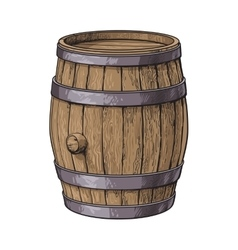 Side view of sketch style standing wooden barrel vector