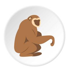 Sitting monkey icon circle vector
