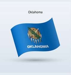 state of oklahoma flag waving form vector image