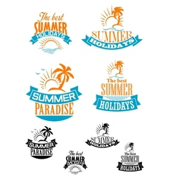 Summer paradize and holidays banners vector