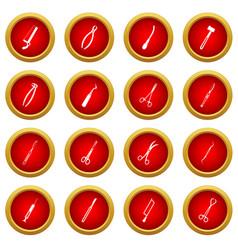Surgeons tools icon red circle set vector