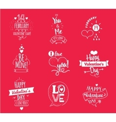 Valentines Day typographic design set on red vector image vector image